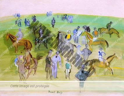 Chevaux Et Jockeys Sur La Pelouse