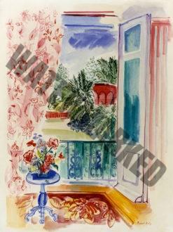 Fenêtre Ouverte Au Bouquet Et Au Rideau Fleuri