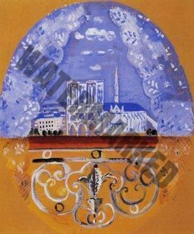 Balcon De Paris. Carton De Tapisserie Pour Un Dossier De Fauteuil Du Mobilier National