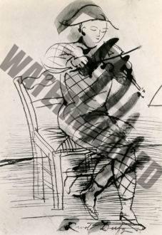 Arlequin Assis Jouant Du Violon