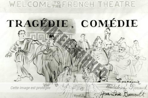 Tragédie - Comédie (maquette D'affiche Pour La Compagnie Madeleine Renaud Et Jean-Louis Barrault)